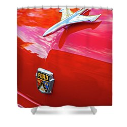 Shower Curtain featuring the photograph Vintage Ford Hood Ornament Havana Cuba by Charles Harden