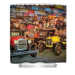 Shower Curtain featuring the photograph Vintage Fords Collectibles by Debra and Dave Vanderlaan