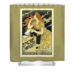 Vintage French Advertising Art Nouveau Encre L'marquet Shower Curtain