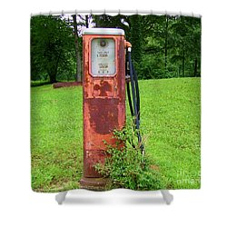 Shower Curtain featuring the photograph Vintage Gas Pump by Donna Dixon