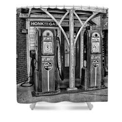Vintage Gas Station Bw Shower Curtain