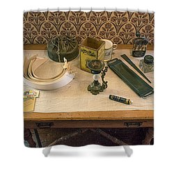 Shower Curtain featuring the photograph Vintage Gentlemen's Preparation Table by Gary Slawsky