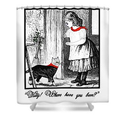 Vintage Girl Lets In Her Gray Cat Shower Curtain