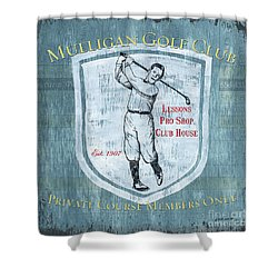 Vintage Golf Blue 1 Shower Curtain