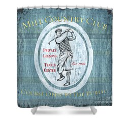 Vintage Golf Blue 2 Shower Curtain