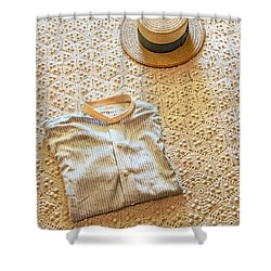 Shower Curtain featuring the photograph Vintage Golfer's Hat And Shirt by Gary Slawsky