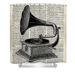 Vintage Gramophone Shower Curtain by Jacob Kuch