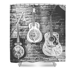 Vintage Guitar Trio In Black And White Shower Curtain