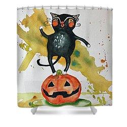 Vintage Halloween Cat Shower Curtain