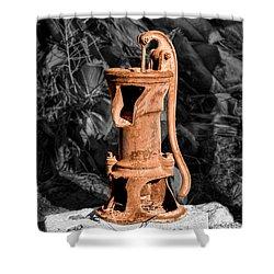 Vintage Hand Water Pump Shower Curtain