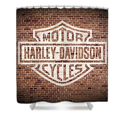 Vintage Harley Davidson Logo Painted On Old Brick Wall Shower Curtain