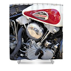 Vintage Harley V Twin Shower Curtain by David Lee Thompson