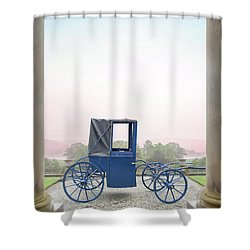 Vintage Horse Drawn Carriage Outside A Country Mansion  Shower Curtain by Lee Avison