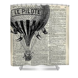 Vintage Hot Air Balloon Illustration,antique Dictionary Book Page Design Shower Curtain by Jacob Kuch