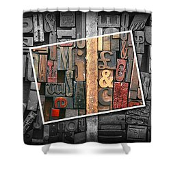 Vintage Inked Typeface Shower Curtain