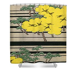 Vintage Japanese Illustration Of An Abstract Forest Landscape With Flying Cranes Shower Curtain