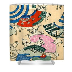 Vintage Japanese Illustration Of Fans And Cranes Shower Curtain