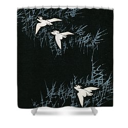 Vintage Japanese Illustration Of Three Cranes Flying In A Night Landscape Shower Curtain