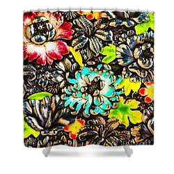Vintage Japanese Panel With Lilies Chrysanthemums And Peonies Shower Curtain