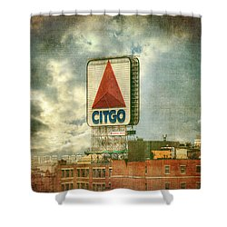 Vintage Kenmore Square Citgo Sign - Boston Red Sox Shower Curtain by Joann Vitali
