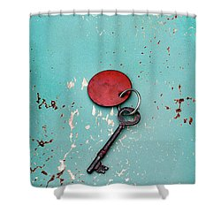 Shower Curtain featuring the photograph Vintage Key With Red Tag by Jill Battaglia