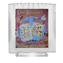 Shower Curtain featuring the photograph Vintage L And M Cigarette Sign by Christina Lihani