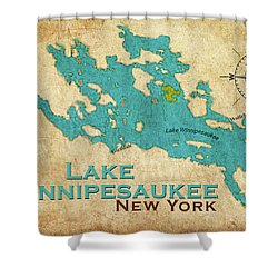 Vintage Lake Winnipesaukee Ny Map Shower Curtain