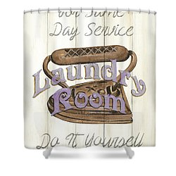 Shower Curtain featuring the painting Vintage Laundry Room 1 by Debbie DeWitt