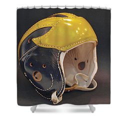 Shower Curtain featuring the photograph Vintage Leather Wolverine Helmet by Michigan Helmet