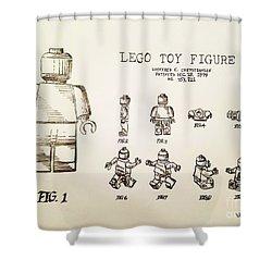 Vintage Lego Toy Figure Patent - Graphite Pencil Sketch Shower Curtain