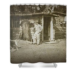 Shower Curtain featuring the photograph Vintage Log Cabin by Linda Phelps