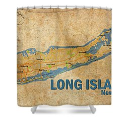 Vintage Long Island Ny Print Shower Curtain