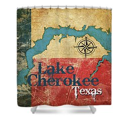 Vintage Map - Lake Cherokee Texas Shower Curtain