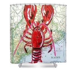 Vintage Map Maine Red Lobster Shower Curtain by Scott D Van Osdol