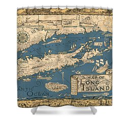 Vintage Map Of Long Island Shower Curtain