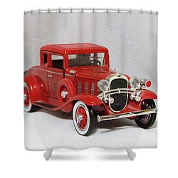 Shower Curtain featuring the photograph Vintage Model Fire Chiefcar by Linda Phelps
