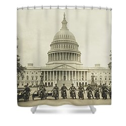 Vintage Motorcycle Police - Washington Dc  Shower Curtain by War Is Hell Store