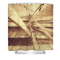 Vintage Nautical Sailing Typography In Sepia Shower Curtain