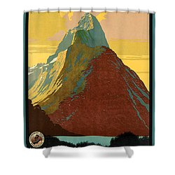Vintage New Zealand Travel Poster Shower Curtain by George Pedro