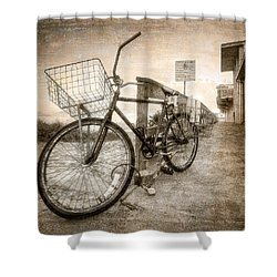 Vintage Ol' Bike Shower Curtain by Debra and Dave Vanderlaan