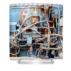 Shower Curtain featuring the photograph Vintage Old Diesel Engine On A Ship by Yali Shi