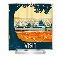 Vintage Palestine Travel Poster Shower Curtain by George Pedro