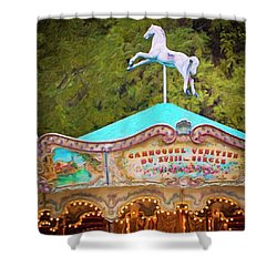 Shower Curtain featuring the photograph Vintage Paris Carousel by Melanie Alexandra Price