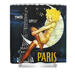 Vintage Paris Moon Shower Curtain by Mindy Sommers