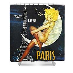 Vintage Paris Moon Shower Curtain