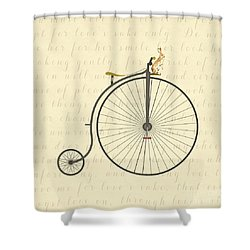 Vintage Penny Farthing Bunny Shower Curtain
