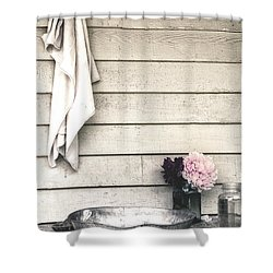 Vintage Peony And Hand Wash Basin Shower Curtain by Julie Palencia
