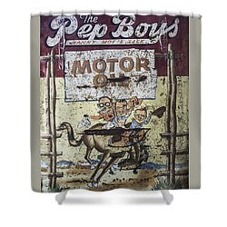 Shower Curtain featuring the photograph Vintage Pep Boys Sign by Christina Lihani