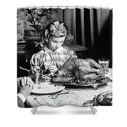 Vintage Photo Depicting Thanksgiving Dinner Shower Curtain by American School