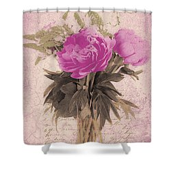 Vintage Pink Peonies Shower Curtain